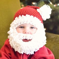 I created this crochet santa beard hat pattern for my adorable little boy, I used the crochet double loop pattern to make it more of a full beard!