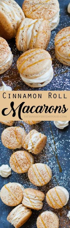 Love cinnamon rolls and macarons? These 'Cinnamon Roll Macarons' combine the best of both into one irresistible cookie! Cinnamon-flavored macaron shells are filled with a salted cream cheese filling and there's a surprise caramel center. You'll go head-ov Just Desserts, Delicious Desserts, Yummy Food, Yummy Mummy, Yummy Eats, Yummy Appetizers, Yummy Snacks, Healthy Desserts, French Appetizers