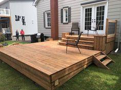 Backyard Patio Designs, Backyard Ideas, Backyard Landscaping, Big Backyard, Backyard Paradise, Deck Makeover, Patio Plans, Building A Deck, Decking