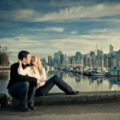 Gorgeous British Columbia sunset, stunning Vancouver skyline and a beautiful couple.