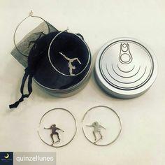 Aros de plata inspirados en deportes. Diámetro 35 mm. Hechos a mano. En su packaging PLATA EN LATA