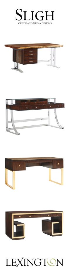 Live edge wood, stainless steal, hand-painted gold leaf. All part of Sligh's desk collection.