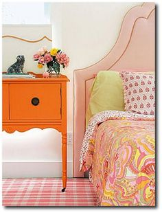 Bright Orange Painted Sewing Cabinet Painted Furniture, Painted Cabinets, Vintage Furniture Makeovers,