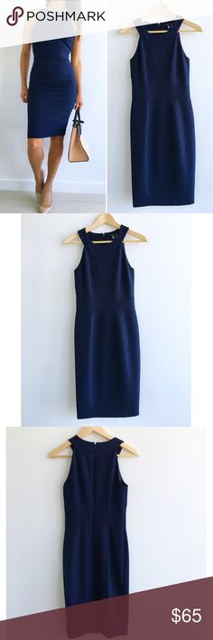 """French Connection Navy Dancing Art Dress French Connection Navy Dancing Art Dress! This crepe dress will create a sharp silhouette! Perfect for the office then play. Excellent condition. Has stretch on bust and hips. Concealed back zipper. Fitted waist. Lined bodice. 90% polyester 10% spandex. Measurements Chest-32"""" waist-26"""" hips-34"""" length-39.5"""" size 2 French Connection Dresses"""