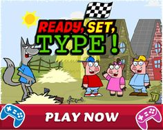 Ready, Set, Type. Free. Online touch typing. Teaches correct finger placement. Displays online keyboard to guide positioning. Three levels.  For more keyboarding programs on this site go to: http://www.tvokids.com/search?search=keyboarding
