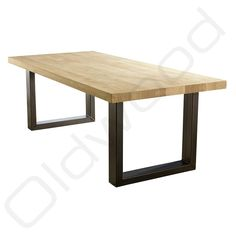 De poten die meer in het midden van het tafelblad zijn Wood Steel, Washington, Dining Table, Tables, Furniture, Decoration, Home Decor, Mesas, Modern
