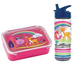 Made for little hands and hearts, this cute and carefree woodland creature bento box comes with a coordinated sip-and-snack bottle, too. From Stephen Joseph. Bento Box, Lunch Box, Blue Hair Extensions, Printed Gowns, Barbie Stuff, Box With Lid, Woodland Creatures, 10th Birthday, Cute Food