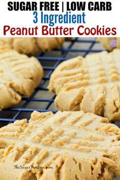 easy and good sugar free and low carb 3 ingredient peanut butter cookies sugarfree lowcarb cookies kids easy keto recipe peanutbutter Low Calorie Peanut Butter, Sugar Free Peanut Butter Cookies, Peanut Butter Cookie Recipe, Sugar Free Desserts, Sugar Free Recipes, Dessert Recipes, Flourless Peanut Butter Cookies, Sugar Free Baking, Nutter Butter