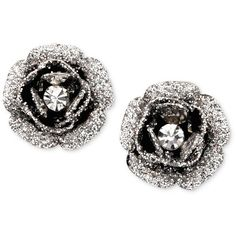Betsey Johnson Rose Bud Stud Earrings ($25) ❤ liked on Polyvore featuring jewelry, earrings, accessories, studs, jewels, no color, hematite earrings, rose stud earrings, rose jewelry and rose earrings