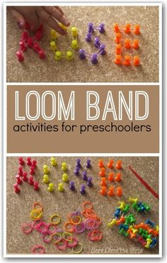 Loom band activities for preschoolers - alternative ideas for using using bands including maths and literacy ideas - would be good for fine motor skills Preschool Learning, Craft Activities For Kids, Fun Learning, Preschool Activities, Preschool Art, Fun Crafts, Crafts For Kids, Arts And Crafts, Rainbow Loom Bands