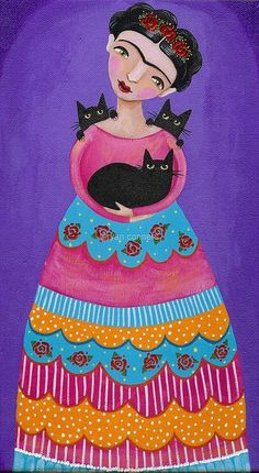 """Frida Kahlo and cats"" Cat Painting, Art Painting, Folk Art, Cat Art, Illustration Art, Art, Frida Kahlo Art, Cat Drawing, Folk"