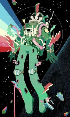 Steve Scott Renders a Space Explorer Being Bombarded by Trippy Graphics #psychedelicart trendhunter.com