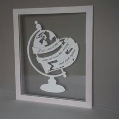 A 'moo'tiful Heart Globe papercut featuring the lovely quote 'I love you all the way around the world and back again' Treat a friend, family member or yourself to a stunning papercut. You can personalise it with a name or initials (up to 20 characters) in the base of the stand. Our papercuts are unique pieces of art that you and your loved ones can treasure forever. Copyright www.thecraftycalf.co.uk