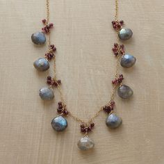 TO THE NINES NECKLACE--Labradorite briolettes, each crowned with a bubbly cluster of garnets, are evenly spaced along a delicate 14kt goldfilled chain in this labradorite and garnet necklace. Handcrafted Sundance exclusive