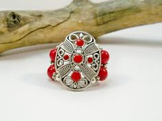 Red Ring Stretch Band Ring Cocktail Ring Jewelry by babbleon, $15.00