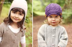 "100% Baby Alpaca knitwear: Reversible chuyo hat in pale pink/snow (left) and ""Maxine"" hat in deep purple (right). Toddler & child sizes available. www.boskekids.com"