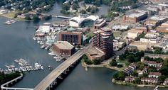 Aerial photo of downtown Hampton. Hampton Virginia, Virginia Beach, Pics For Dp, Old Dominion, Newport News, Chesapeake Bay, African History, Portsmouth, Norfolk