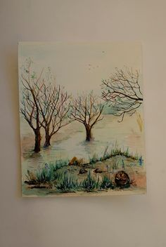 Beaver painting Landscape painting Original by coloribli on Etsy