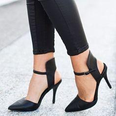Shoespie Black Open Toe Sandal Booties
