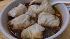高雄五福鮮蝦扁食の「香辣紅油扁食」