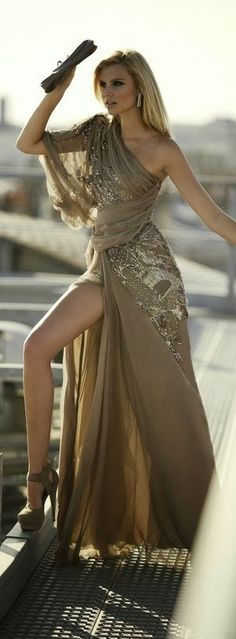 French beige Colored One Shoulder Maxi Dress this cut would look great on Shelly