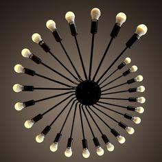 309.00$  Watch now - http://aliez4.worldwells.pw/go.php?t=32457239156 - 26 Heads Edison Black Big Pendant Ceiling Lamp E27 LED Chandelier  Lofe Cafe Bar