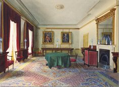 1861.   This was painted when the Duchess of Kent, Queen Victoria's mother, lived in Clarence House.  The dining room really hasn't changed much at all since that time – except for the moldings and the mantel.      Such a tiny table for such a large room!!!cla
