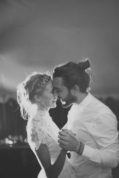 Perfect bride & groom hair - braided crown for her & top-knot bun for him