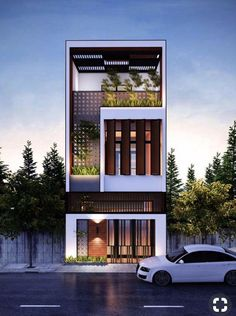 27 Ideas House Exterior Design Modern Architects For 2019 House Front Design, Small House Design, Modern House Design, Facade Design, Exterior Design, Townhouse Exterior, Exterior Houses, Bungalow Haus Design, Narrow House Designs