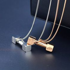 Fitness Dumbbell Stainless Steel Necklace
