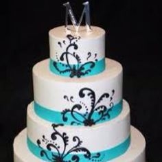 4 tier layer Tiffany blue wedding cake