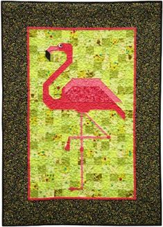 "Flamingo Patchwork Quilt Pattern: ""Floyd"" is a fun loving flamingo with a fondness for heavy metal. Bird Quilt Blocks, Big Block Quilts, Cute Quilts, Patchwork Quilt Patterns, Barn Quilt Patterns, Paper Piecing Patterns, Tropical Quilts, Coastal Quilts, Vogel Quilt"