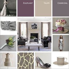 Walls taupe/bathroom eggplant/accent (station, curtains, rugs, ect )charcoal
