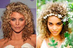 Penteados para noivas de cabelos cacheados - cabelo solto com tiara