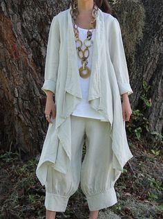 Bryn Walker Heavy Linen Kai Jacket Lagenlook Top s M M L L XL XL 1x Spritz | eBay Look at the pants cuff detail.
