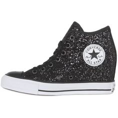 Converse Women 80mm All Star Mid Lux Glittered Sneakers ($155) ❤ liked on Polyvore featuring shoes, sneakers, glitter sneakers, platform sneakers, wedge sneakers, glitter shoes and wedge heel shoes