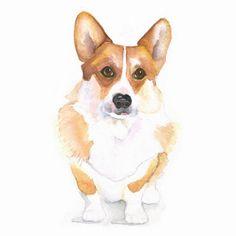 Welsh Corgi Watercolor Giclee Print 8x10 Dog by PelaSkyeStudio