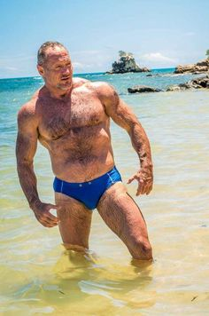 Mature Muscle Daddy in Blue Speedo