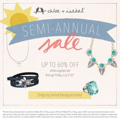 #sale #jewelry #beautiful  Check out the items that will be going on sale for 50%+ off tomorrow!!! www.chloeandisabel.com/boutique/mariarosazenk
