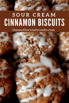 Cinnamon biscuits are easy to make and wonderful with your morning coffee. They make a great snack with milk and can be reheated. You can double the recipe or cut it in half. Sour Cream Chip Dip, Sour Cream Scones, Sour Cream Biscuits, Sour Cream Pound Cake, Sour Cream Coffee Cake, Flaky Biscuits, Buttermilk Biscuits, Baking Recipes, Snack Recipes