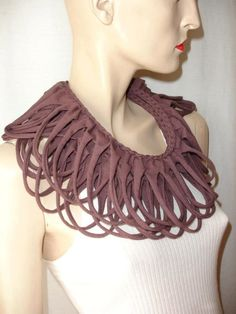 T Shirt Collar Scarf Recycled T Shirts, Fabric Beads, Brown Fashion, Cool Things To Make, Crochet Necklace, Braids, Etsy, Brown Style, Womens Fashion