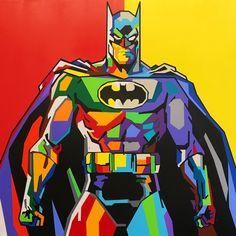 Original Popular culture Painting by Elizabeth Sutton Batman Pop Art, Batman Vs Superman, Cuadros Pop Art, Abstract Portrait Painting, Abstract Art, Martial Arts Workout, Dc Comics Superheroes, Gotham City, Saatchi Art