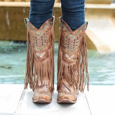 Beaded Fringe Boots | Festival Outfit | Fringe Cowboy Boots - D&D Texas Outfitters