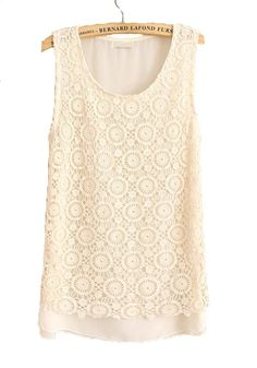 Beige Lace Hollow-out Round Neck Sleeveless Chiffon Blouse
