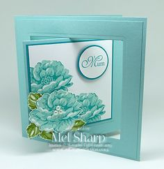 Stippled Blossoms with Pool Party and Bermuda Bay. Gorgeous feminine card.