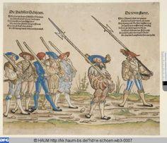 1532 - 1542 Erhard Schön, Heereszug der Landsknechte (Military campaign of the mercenaries) Herzog Anton Ulrich-Museum   Virtuelles Kupferstichkabinett