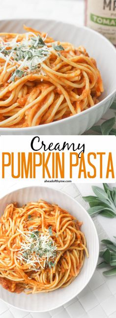 Creamy Pumpkin Pasta: The perfect weeknight meal is born this fall when pumpkin, tomato sauce and sage come together to create a delicious, creamy pumpkin pasta! | aheadofthyme.com via @aheadofthyme #PickedAtPeak #ad @walmart