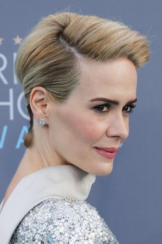Pin for Later: Sarah Paulson's Edgy Updo Is a Genius Way to Use Bobby Pins Sarah Paulson's Hair From the Side