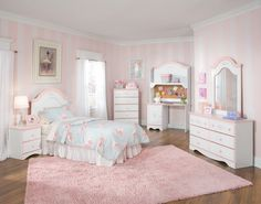 Decoration Ideas, : Cute Girls Room Decoration With Soft Pink And White Stripes Painting Combine With Cozy Bed, Dreasser, Cabinet, Mirror Also Desk And Nice Pink Rug On The Brown Flooring
