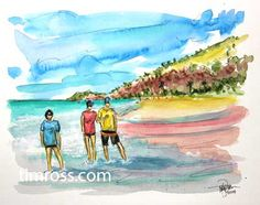 A watercolor painting by Tim Ross.  Big Beach Waimea Maui.  www.timross.com